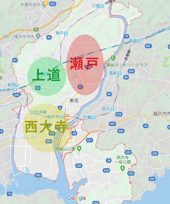 岡山市東区の住みやすさマップ